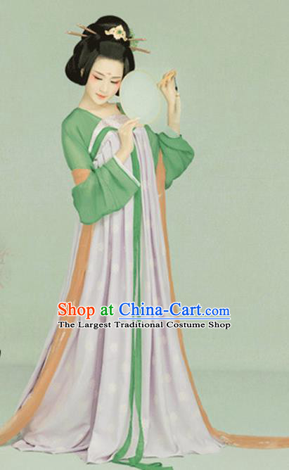 Chinese Ancient Palace Lady Hanfu Dress Traditional Tang Dynasty Imperial Consort Costume and Headpiece for Women