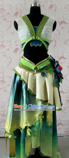 Chinese Ancient Female Swordsman Peri Costume Traditional Cosplay Princess Green Dress for Women