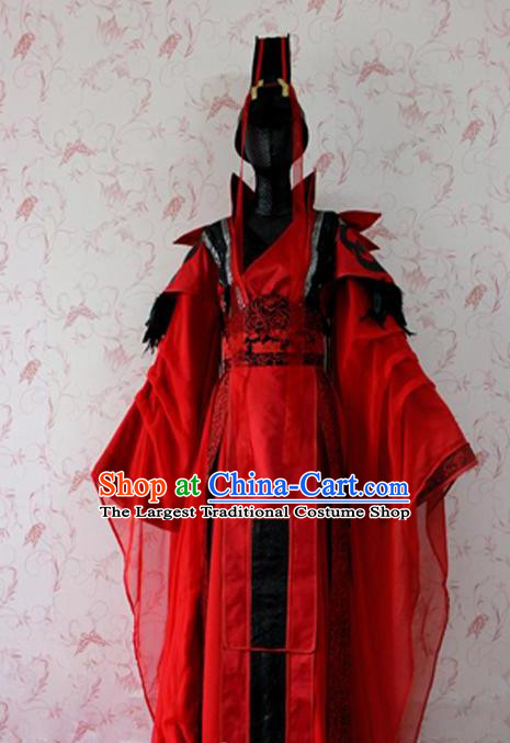 Chinese Ancient Female Swordsman Wedding Costume Traditional Cosplay Peri Red Dress for Women