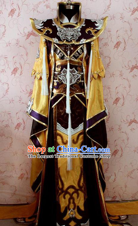 Chinese Ancient General Swordsman Golden Costume Traditional Cosplay Emperor Clothing for Men