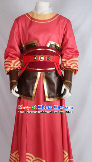 Chinese Ancient Imperial Bodyguard Red Costume Traditional Cosplay Swordsman Clothing for Men