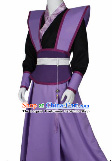 Chinese Ancient Imperial Bodyguard Purple Costume Traditional Cosplay Swordsman Clothing for Men