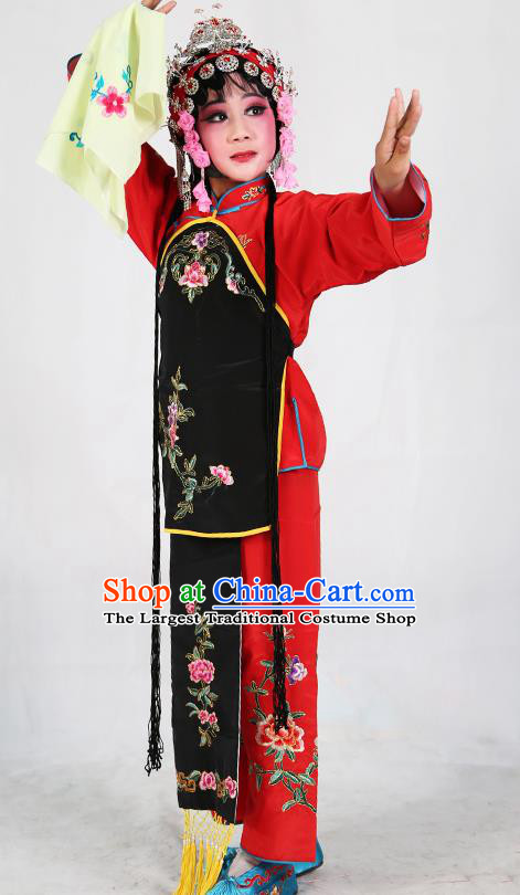 b3a4519ec Traditional Chinese Beijing Opera Children Red Costume Peking Opera  Maidservants Black Vest Clothing for Kids