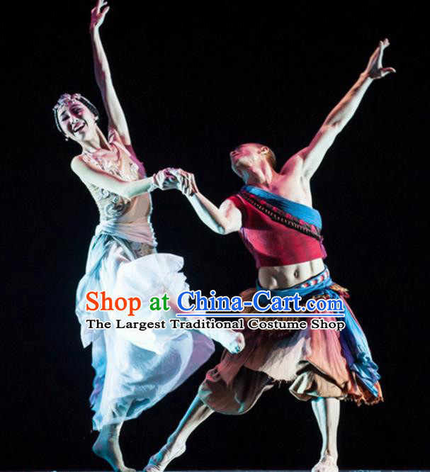 Traditional Chinese Classical Dance Costume China Ethnic Couple Dance Clothing Complete Set