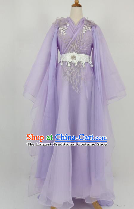 Traditional Chinese Swordswoman Purple Hanfu Ancient Peri Princess Historical Costume for Women