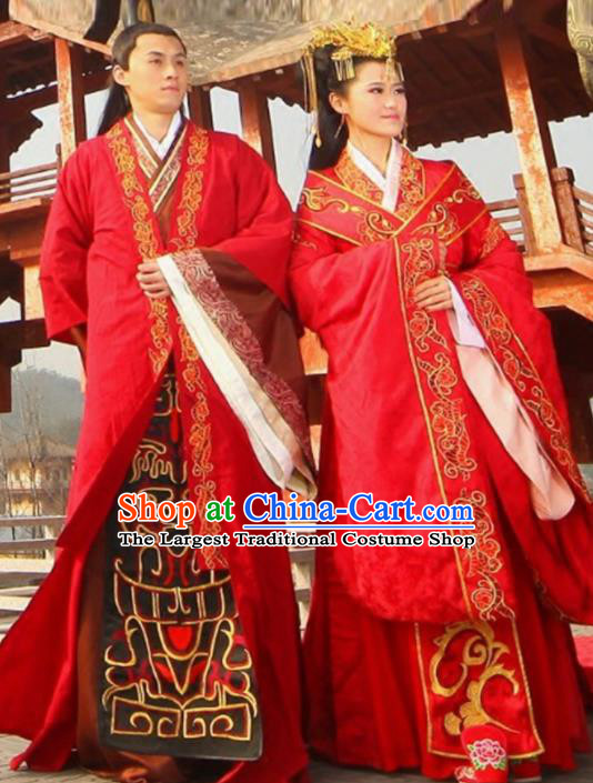 Traditional Chinese Han Dynasty Red Hanfu Dress Ancient Bride and Bridegroom Wedding Historical Costume Complete Set