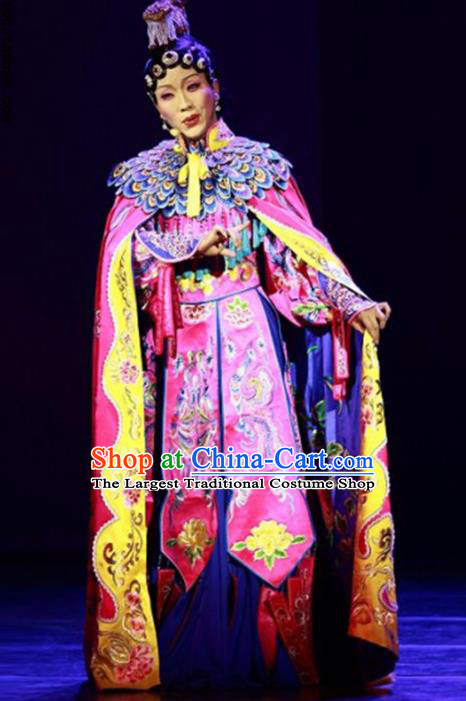 Traditional Chinese Beijing Opera Rosy Dress Ancient Imperial Consort Yu Ji Historical Costume Complete Set