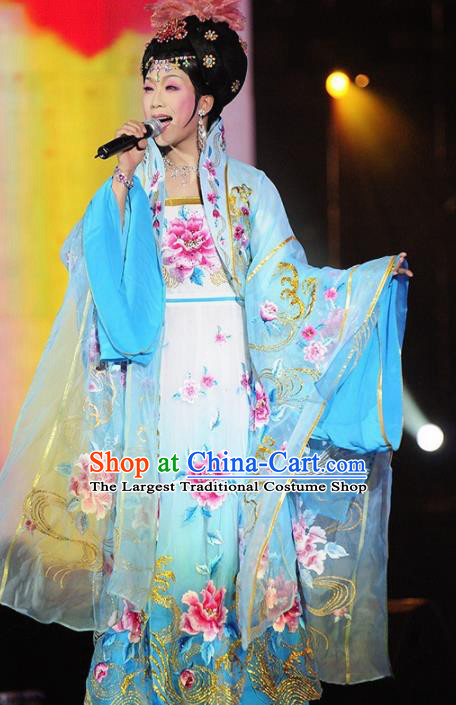 Traditional Chinese Tang Dynasty Imperial Consort Blue Embroidered Dress Ancient Peri Historical Costume