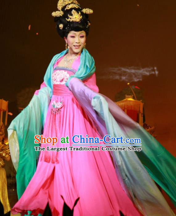 Traditional Chinese Tang Dynasty Imperial Concubine Rosy Dress Ancient Peri Historical Costume
