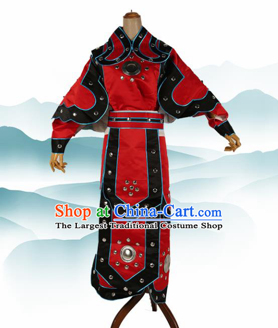 Chinese Traditional Beijing Opera Soldier Costume Peking Opera Takefu Red Clothing
