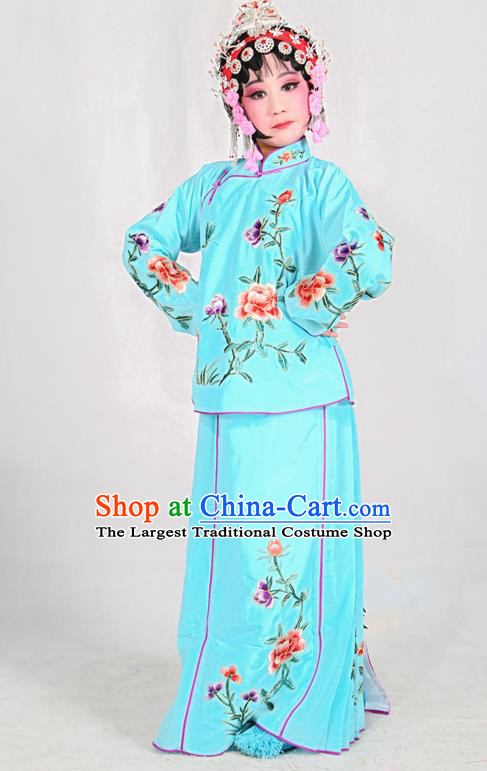 Traditional Chinese Beijing Opera Children Costume Peking Opera Maidservants Blue Dress for Kids