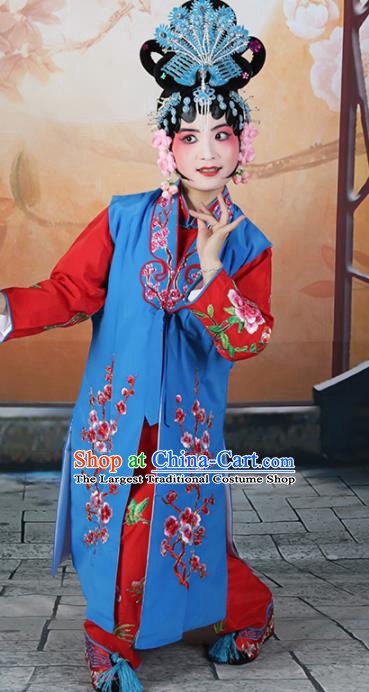 Traditional Chinese Beijing Opera Young Lady Costume Peking Opera Maidservants Blue Clothing