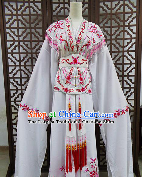 Traditional Chinese Beijing Opera Actress Costume Peking Opera Princess White Dress