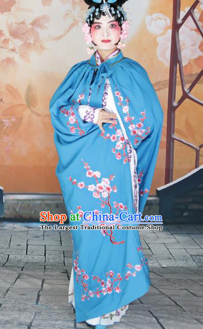 Traditional Chinese Beijing Opera Diva Costume Peking Opera Imperial Concubine Blue Cloak