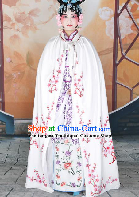 Traditional Chinese Beijing Opera Diva Costume Peking Opera Imperial Concubine White Cloak