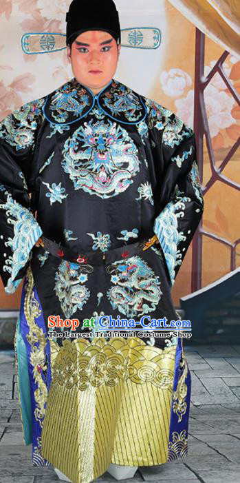 Chinese Traditional Beijing Opera Black Embroidered Robe Peking Opera Minister Costume