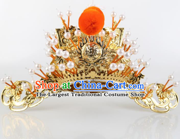Asian Chinese Beijing Opera Headwear Traditional Peking Opera Prime Minister Golden Hat