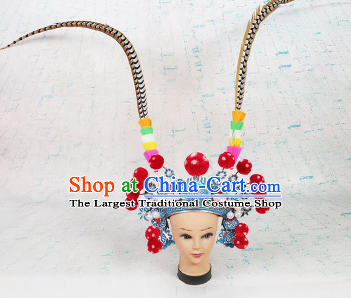 Asian Chinese Beijing Opera Martial Women Headwear Traditional Peking Opera Feather Hat