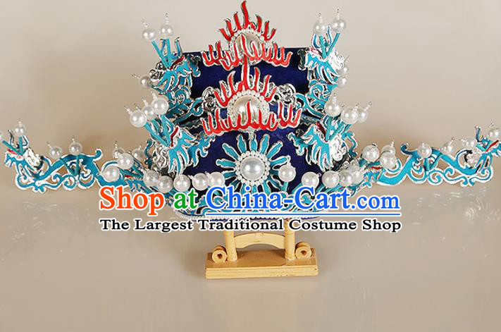 Asian Chinese Beijing Opera Headwear Traditional Peking Opera Prime Minister Royalblue Hat
