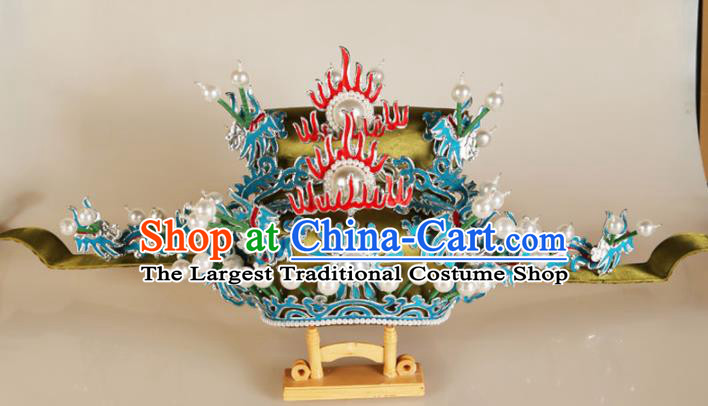 Asian Chinese Beijing Opera Headwear Traditional Peking Opera Prime Minister Green Hat