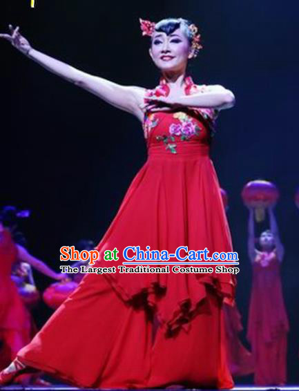 Traditional Chinese Folk Dance Costume China Yangko Dance Red Dress for Women