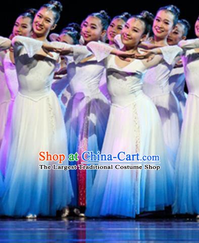 Professional Modern Dance Costume Catwalks Stage Performance White Dress for Women