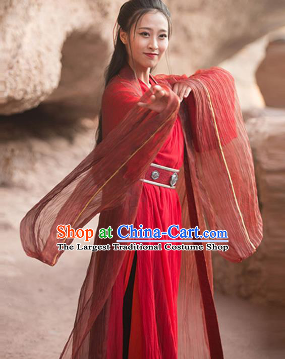 Traditional Chinese Jin Dynasty Swordswoman Red Hanfu Dress Ancient Wedding Historical Costume for Women