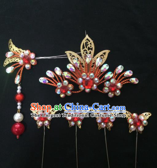Asian Chinese Beijing Opera Hair Accessories Red Rhinestone Phoenix Hairpins Complete Set for Women