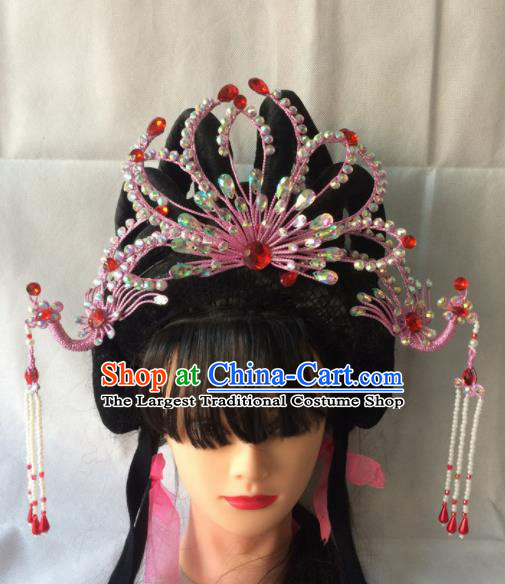 Asian Chinese Beijing Opera Hair Accessories Ancient Princess Pink Phoenix Coronet Hairpins for Women