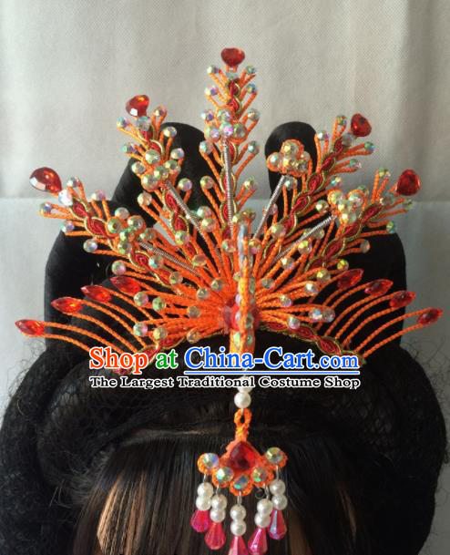 Asian Chinese Beijing Opera Hair Accessories Ancient Princess Red Phoenix Coronet Hairpins for Women