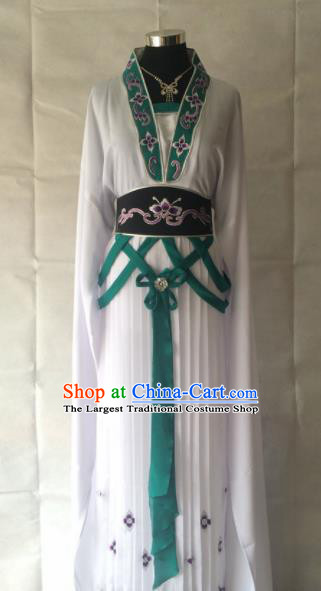 Traditional Chinese Beijing Opera Palace Costume Ancient Court Maid White Dress for Women