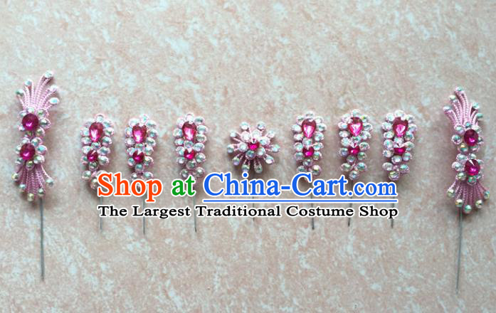 Asian Chinese Beijing Opera Hair Accessories Hair Clip Ancient Princess Pink Hairpins Complete Set for Women