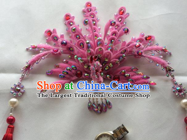 Asian Chinese Beijing Opera Hair Accessories Pink Phoenix Coronet Ancient Princess Hairpins for Women