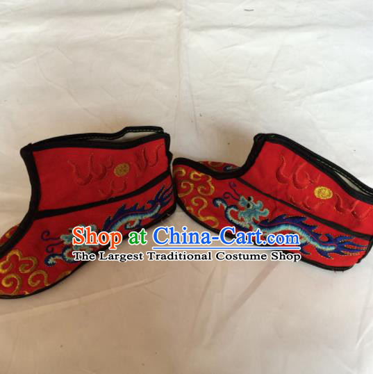 Asian Chinese Beijing Opera Takefu Red Embroidered Boots Ancient Swordsman Shoes for Men