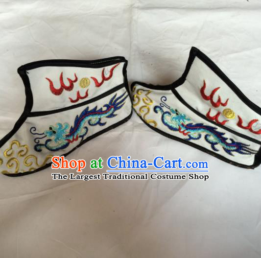 Asian Chinese Beijing Opera Takefu White Embroidered Boots Ancient Swordsman Shoes for Men