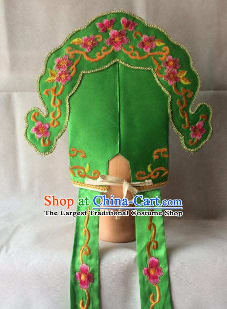 Asian Chinese Traditional Beijing Opera Niche Headwear Ancient Scholar Green Hat for Men