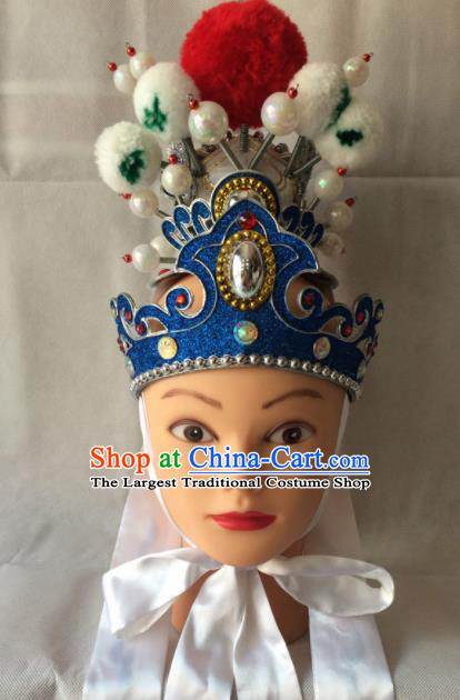 Asian Chinese Beijing Opera Niche Headwear Ancient Prince Blue Hat for Men