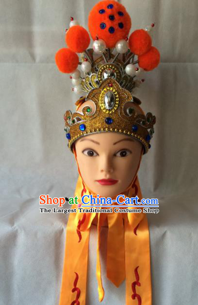 Asian Chinese Beijing Opera Niche Headwear Ancient Prince Golden Hat for Men