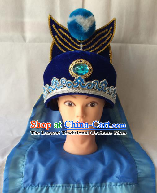 Asian Chinese Beijing Opera Takefu Headwear Ancient Swordsman Royalblue Hat for Men