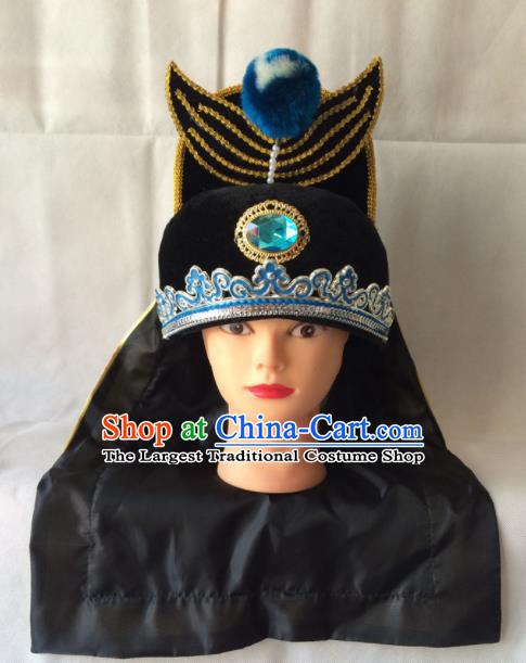 Asian Chinese Beijing Opera Takefu Headwear Ancient Swordsman Black Hat for Men