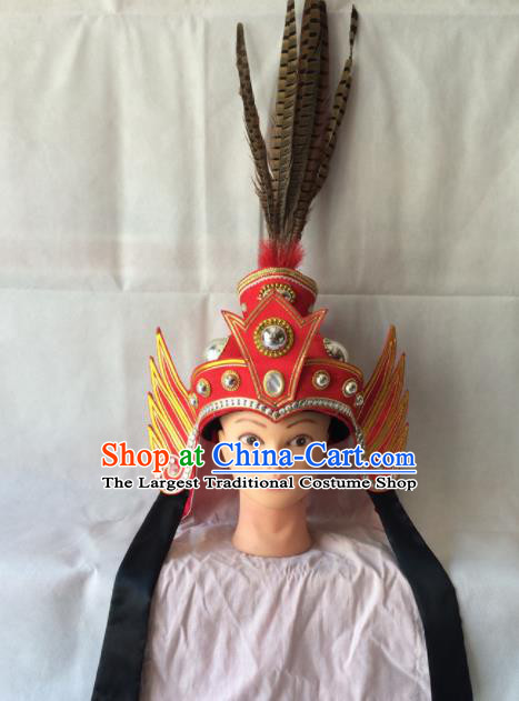 Asian Chinese Beijing Opera Takefu Headwear Ancient General Red Helmet Hat for Men
