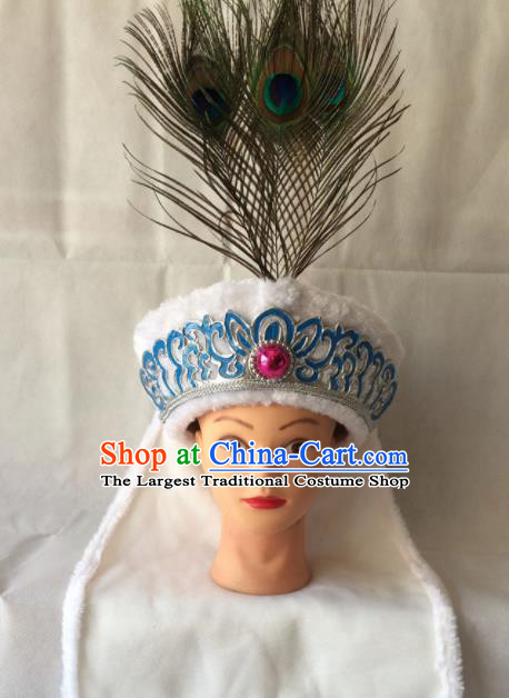 Asian Chinese Beijing Opera Niche Headwear Ancient Prince White Hat for Men