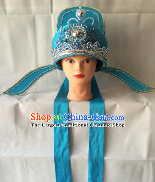 Asian Chinese Beijing Opera Niche Headwear Ancient Number One Scholar Blue Hat for Men