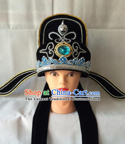 Asian Chinese Beijing Opera Niche Headwear Ancient Number One Scholar Black Hat for Men