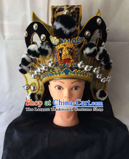 Asian Chinese Beijing Opera Takefu Black Helmet Headwear Ancient Prince Hat for Men