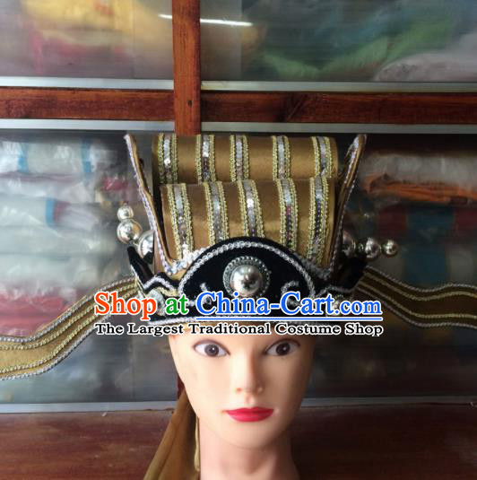 Asian Chinese Traditional Beijing Opera Headwear Ancient Prime Minister Golden Hat for Men