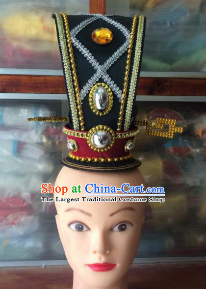 Asian Chinese Traditional Beijing Opera Headwear Ancient Royal Highness Black Hairdo Crown for Men