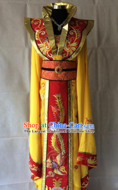 Traditional Chinese Beijing Opera Diva Costume Ancient Empress Yellow Hanfu Dress for Women