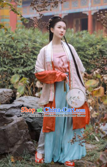 Traditional Chinese Ancient Song Dynasty Female Historical Costume Blouse and Pants Complete Set