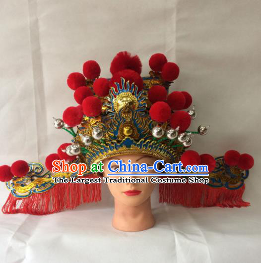 Asian Chinese Traditional Beijing Opera God of Wealth Headwear Ancient Prime Minister Hat for Men